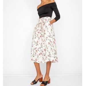 Off White J.O.A. Floral Emmy Midi Skirt Small